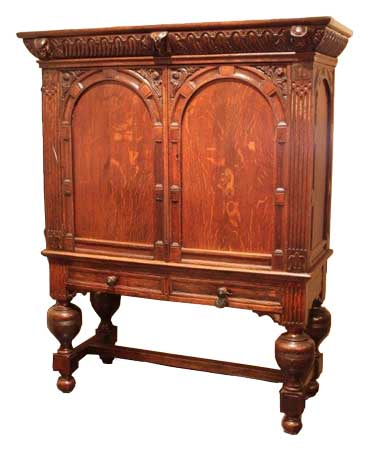 Hollands gestoken kruisvoet kabinet - ca. 1700 - NL Antiques