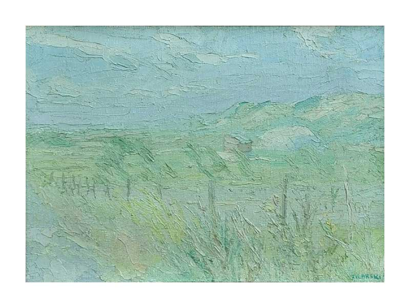 Drik Filarski – Duinlandschap in groen en blauw - NL Antiques