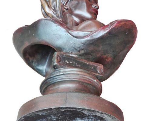 Hoofd dame in brons