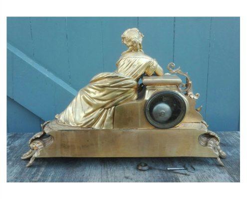 Bronzen Franse pendule, vuurverguld - 19e eeuw - NL-Antiques