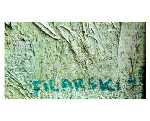 Dirk Filarski - Schuurtje in duinlandschap in groen en blauw - NL Antiques