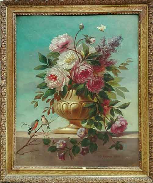 Ch. Köhrer - Kleurrijk bloemstilleven met vlinder en vogels - NL Antiques