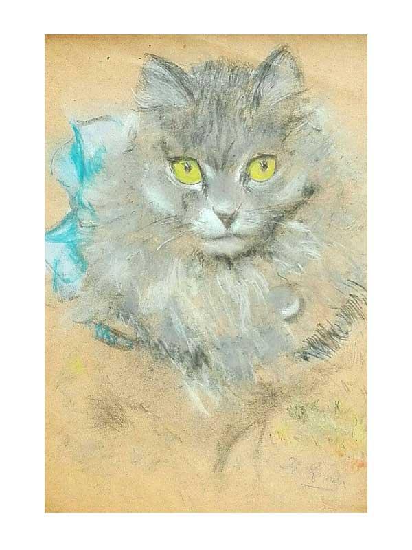 Henriëtte Ronner-Knip - Kattenkopje met blauwe strik - NL Antiques
