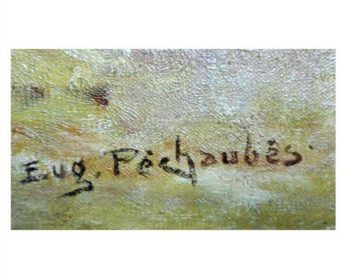 Eugene Pechaubes - Hooibouw met paard en wagen - NL Antiques