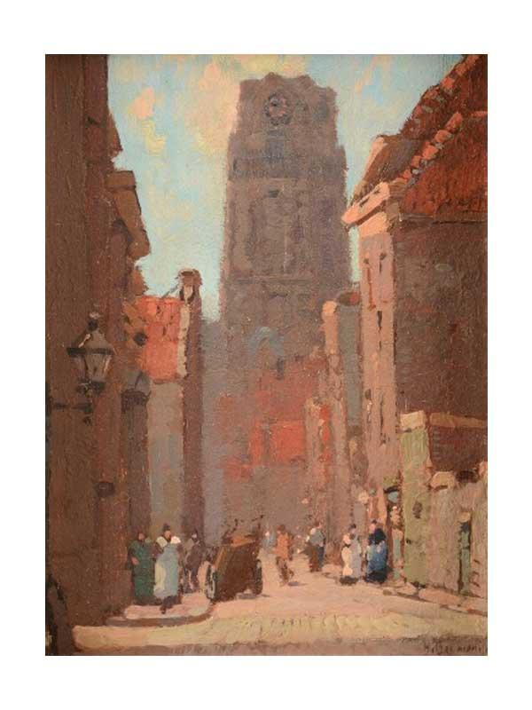Herman Bogman - Rotterdams straatje met figuren bij de Laurenskerk - NL Antiques