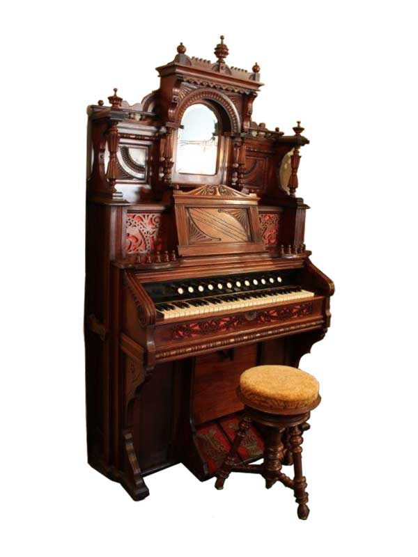 Spiegeltop harmonium in notenhout - ca. 1890 - NL Antiques