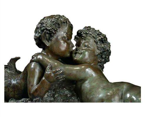 Joseph d'Asté - Liggende faun met putty - NL Antiques