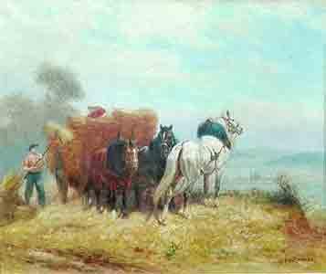 Péchaubès – Hooibouw met paard en wagen - NL Antiques