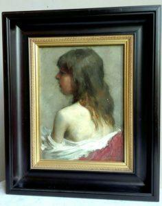 """""""Meisje, in het rood"""". Portret. (A.L.B. Dumoulin(1871-1935)"""