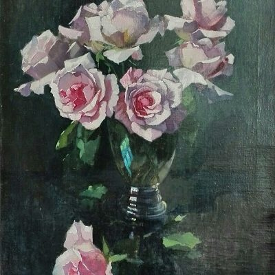 """Rozen"", Henri van Os-Delhez, boeketje roze rozen"