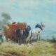 Hooibouw met paard en wagen