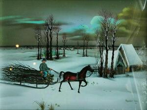 Wintergezicht, met paard met slede